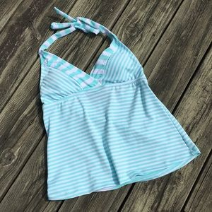 Mossimo Mint and White Striped Tankini Top